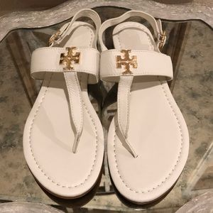 NEW TORY BURCH SANDAL WHITE GOLD HARDWARE SZ 10